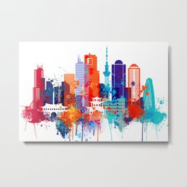 Tokyo Watercolor Skyline Metal Print