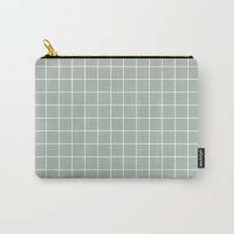 Ash gray - grey color - White Lines Grid Pattern Carry-All Pouch