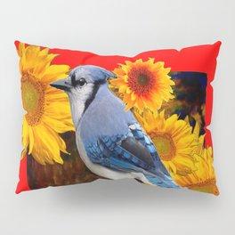 RED SUNFLOWERS  & BLUE JAY ART Pillow Sham