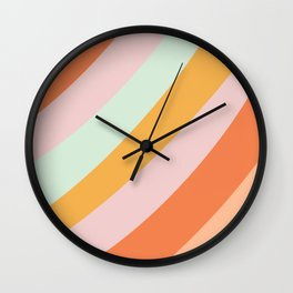 Summer Sorbet Pastel Curved Stripes Wall Clock