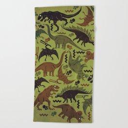 Camouflage Dinosaur Geometric Pattern Beach Towel