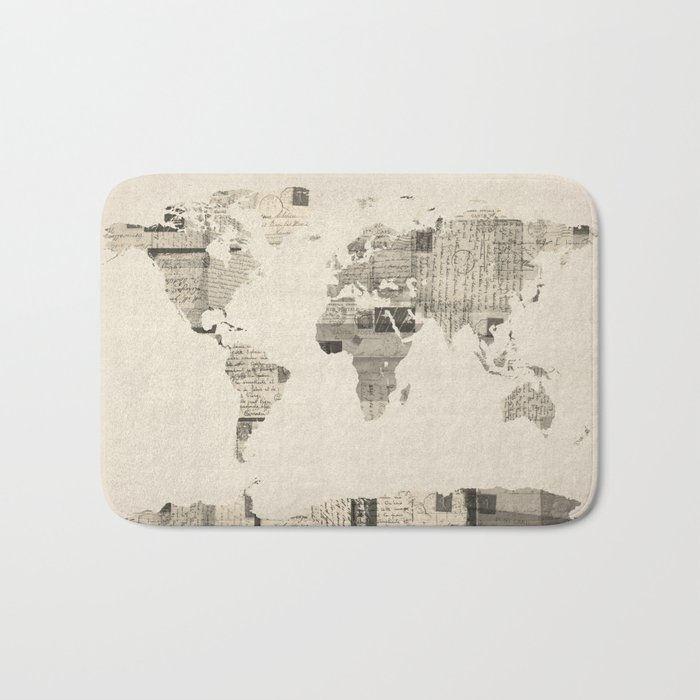 Map of the World Map from Old Postcards Bath Mat