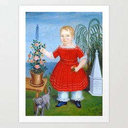 Child and Cat Painting, 1852 Art Print