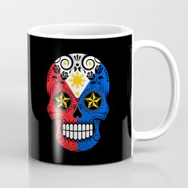 Sugar Skull with Roses and Flag of Philippines Coffee Mug