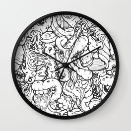 Alphabetcha Collage b&w Wall Clock