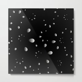 Monochrome drops and petals on a gray background in nacre. Metal Print