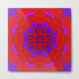 Red Lace on Purple Metal Print