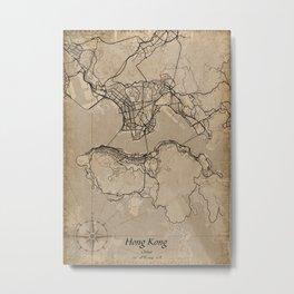 hong kong city map vintage Metal Print