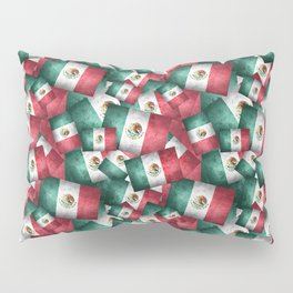Grunge-Style Mexican Flag Pillow Sham