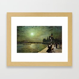 Reflections on the Thames River, London by John Atkinson Grimshaw Framed Art Print