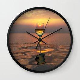 Paradise Ocean Wine Sunset Wall Clock
