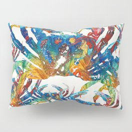 Bright Colorful Crab Collage Art by Sharon Cummings Pillow Sham