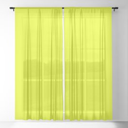 Neon Yellow + Bug Out Bag Design Sheer Curtain