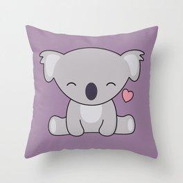 Kawaii Cute Koala Bear With Heart Throw Pillow
