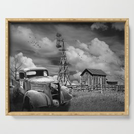 Junk Truck for Sale and Wooden Barn with Windmill in Black and White Serving Tray