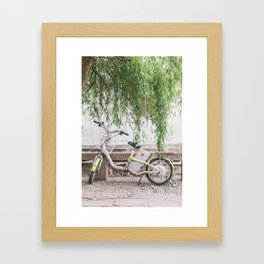 Bike Under the Willows - Suzhou China Framed Art Print