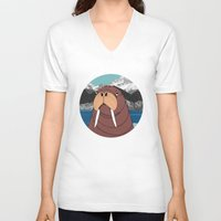 walrus V-neck T-shirts featuring Walrus by Diana Hope