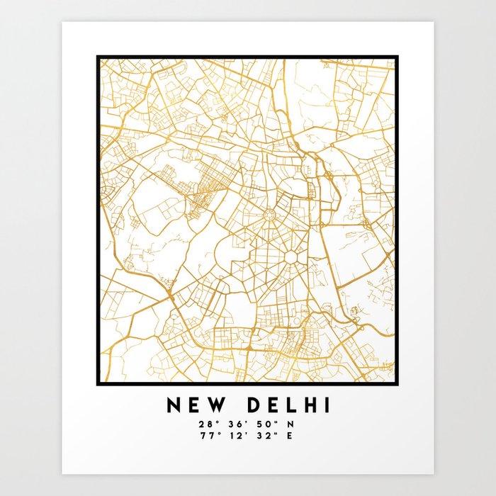 New Delhi India City Street Map Art Art Print By Deificusart Society6