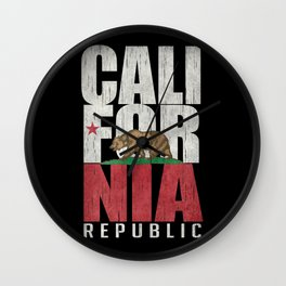 Cali Bear Flag with deep distressed textures Wall Clock