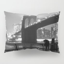 Brooklyn Bridge on a rainy night Pillow Sham