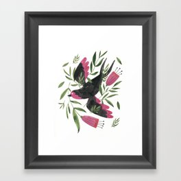 Swallow with Flowers Framed Art Print