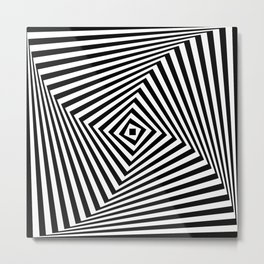 Op art rotating square in black and white Metal Print
