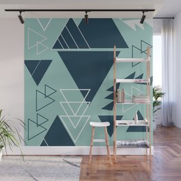 Geometric leftovers in blue Wall Mural