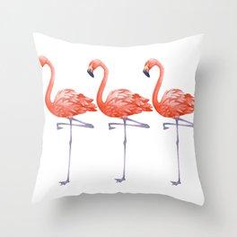 A Colorful Flamingo Triune Throw Pillow