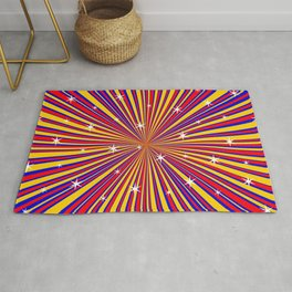Red Yellow Blue And Rays Background With Stars Rug