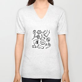 Body foot nose etc Unisex V-Neck