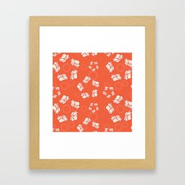 Poppy Pattern Collection - Red Background & Cream Flowers Framed Art Print
