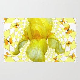 YELLOW BUTTERFLIES & YELLOW IRIS WHITE PATTERN ART Rug