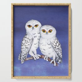 Two lovely snowy owls Serving Tray