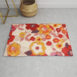 Cross Stitch Flowers Rug