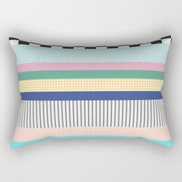 Stripes Mixed Print and Pattern with Color blocking Rectangular Pillow