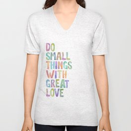 Do Small Things With Great Love, Mother Teresa Print, Mother Teresa Quote, Floral Quotes Wall Art, I Unisex V-Neck