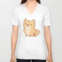 shiba inu V-neck T-shirts featuring Shiba Inu by Berneri