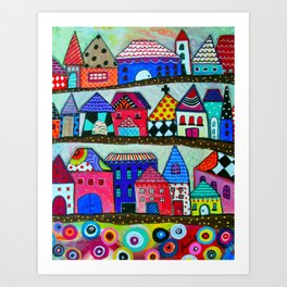 Mexican Town House of Colors Painting Art Print