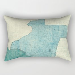 Texas State Map Blue Vintage Rectangular Pillow