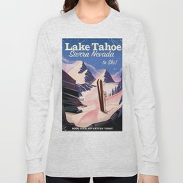 Lake Tahoe vintage ski travel poster Long Sleeve T-shirt