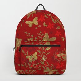 Grunge brown butterfly on a red floral background . Backpack