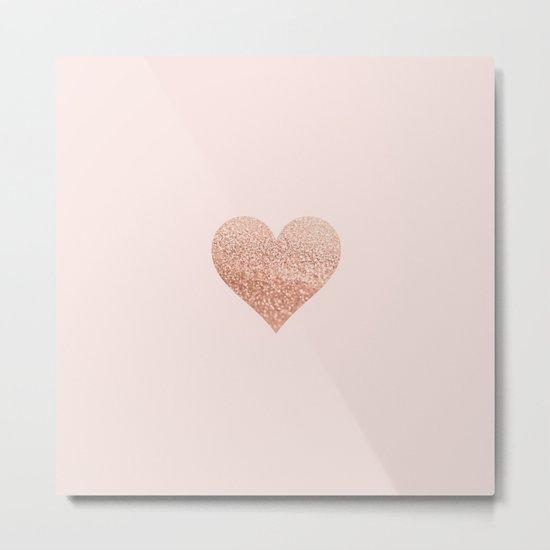 ROSEGOLD HEART BLUSH Metal Print