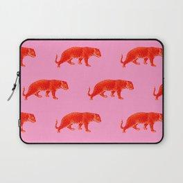 Vintage Cheetahs in Coral + Red Laptop Sleeve