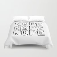 nope Duvet Covers featuring Nope by M Studio