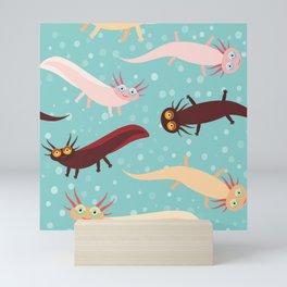 pattern Cute orange pink brown Axolotl Cartoon character on blue background in the aquarium Mini Art Print