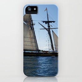 Schooner in Mackinac Island Harbor, Lake Huron, Michigan iPhone Case