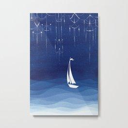 Garland of stars, sailboat Metal Print