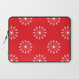 Snowflakes - red and white Laptop Sleeve
