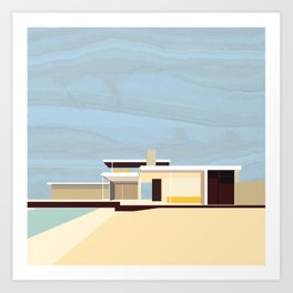 Mid Century Modern Kaufman House: Palm Springs: Architecture by Richard Neutra: Blue Yellow Brown Art Print