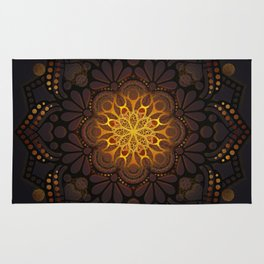 """Warm light Moroccan lantern Mandala"" Rug"